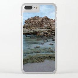 Big rock beach sunset Clear iPhone Case