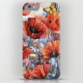watercolor poppies iPhone Case