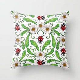 Ladybugs & Daisies - Cute Floral Bug Pattern with Ladybirds Throw Pillow