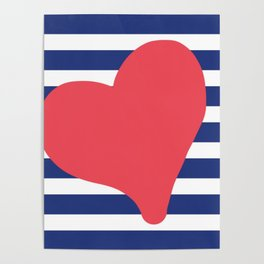In love with stripes - blue Poster