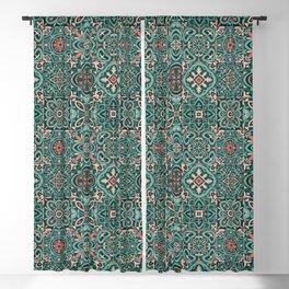 Peranakan Art Nouveau Tiles (Mixed Patterns in Peach Garden) Blackout Curtain