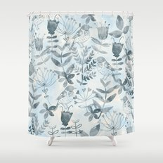 Watercolor Botanical Garden IV Shower Curtain