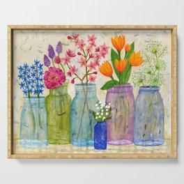 Springs Flowers in Old Jars Serving Tray
