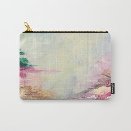 WINTER DREAMLAND 1 Colorful Pastel Aqua Marsala Burgundy Cream Nature Sea Abstract Acrylic Painting  Carry-All Pouch