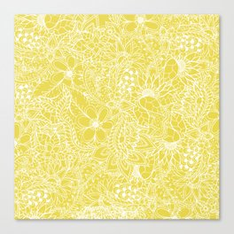 Modern trendy white floral lace hand drawn pattern on meadowlark yellow Canvas Print