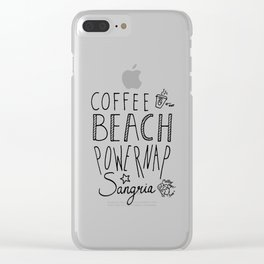 daily goals coffee beach powernap sangria handlettering Clear iPhone Case