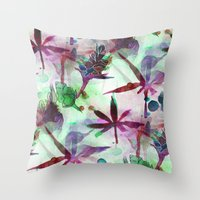 northern lights Throw Pillows featuring Northern Lights by Cannabis Color Art