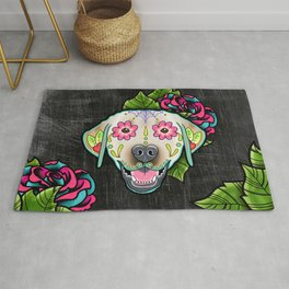 Labrador Retriever - Yellow Lab - Day of the Dead Sugar Skull Dog Rug
