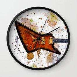 Guitar Splash Paint Wall Clock