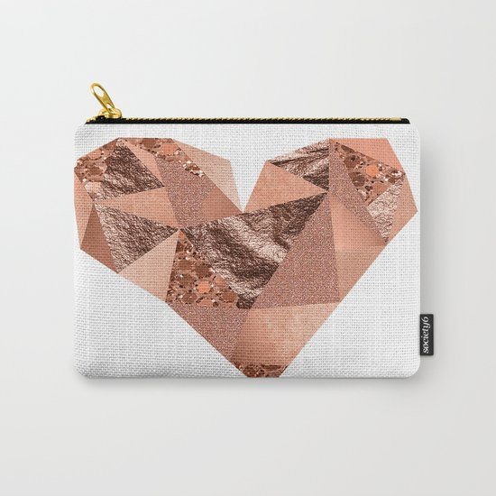 Rose gold geometric heart - glitter & foil Carry-All Pouch