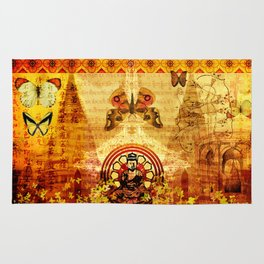 Buddha and Butterflies Rug