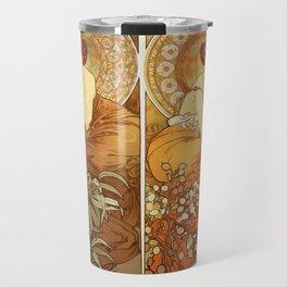 "Alphonse Mucha ""The Gem Series - Ruby, Amethyst, Emerald, Topaz"" Travel Mug"