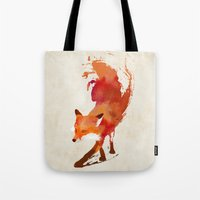 red Tote Bags featuring Vulpes vulpes by Robert Farkas