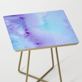 Abstract Watercolor Art Blue And Purple Modern Painting Side Table