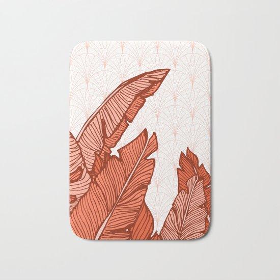 Red Tropical Leaves #society6 #decor #buyart Bath Mat