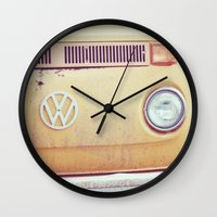 vw bus Wall Clocks featuring vw by shannonblue
