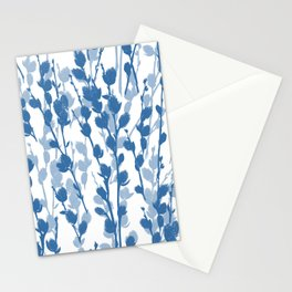 Petite Double Pussywillow Pattern — Blue Stationery Cards