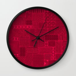 African Red Tribal Mud Cloth Wall Clock