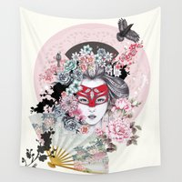 gemma Wall Tapestries featuring Miànmó by Gemma Hodgson Design