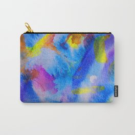 abstract drawing fingers a watercolor according to a wet leaf, subtle blue, violet and yellow shades Carry-All Pouch