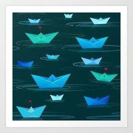 Origami paper boats Art Print