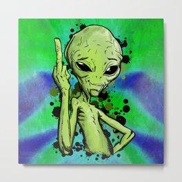 Alien middle finger Fuck Off illustration Metal Print
