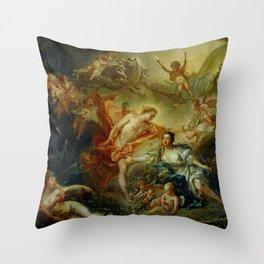 """François Boucher """"Apollo Revealing his Divinity before the Shepherdess"""" Throw Pillow"""