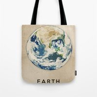 earth Tote Bags featuring Earth by Heather Landis