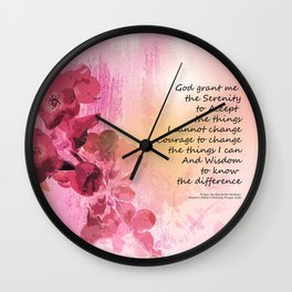 Serenity Prayer Quince Fence 3 Pink Wall Clock