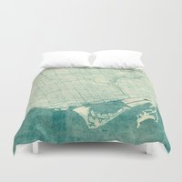 vintage map Duvet Covers featuring Toronto Map Blue Vintage by City Art Posters