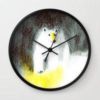 polar bear Wall Clocks featuring Polar Bear by Linette No