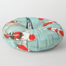 Le ballet des carpes koi Floor Pillow