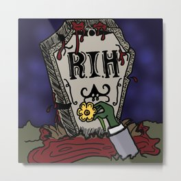 Bleeding Tombstone with a Zombie Paying Respects Metal Print