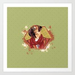 Hipster Bullmastiff dog Art Print