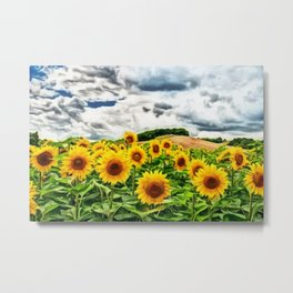 Summer Sunflower Fields Landscape Painting by Jeanpaul Ferro Metal Print