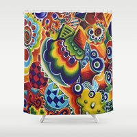 globe Shower Curtains featuring Globe by Leah Moloney