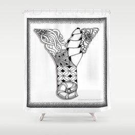 Zentangle Y Monogram Alphabet Initial Shower Curtain