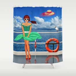 Pin-Up Girl at the railing Shower Curtain