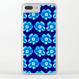 Blue Flower Girly Pattern Clear iPhone Case