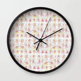Russian doll and flowers pattern Wall Clock