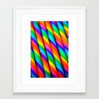 candy Framed Art Prints featuring Rainbow Candy : Candy Canes by WhimsyRomance&Fun