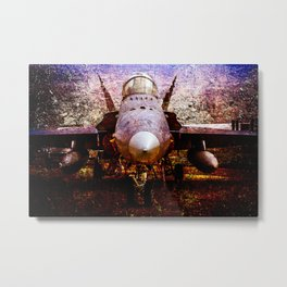 Frontal View Of A Modern Military Fighter Plane. Stylized Art Of Aviation Metal Print