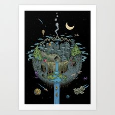 Carved Planet (detailed) Art Print