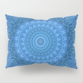 Sunflower Feather Bohemian Cool Blue Pattern \\ Aesthetic Vintage \\ Ice Snow Aqua Color Scheme Pillow Sham