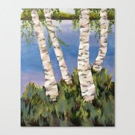 Four Birch on the Lake Leinwanddruck