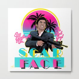 Scarface Miami Vice Mashup Metal Print