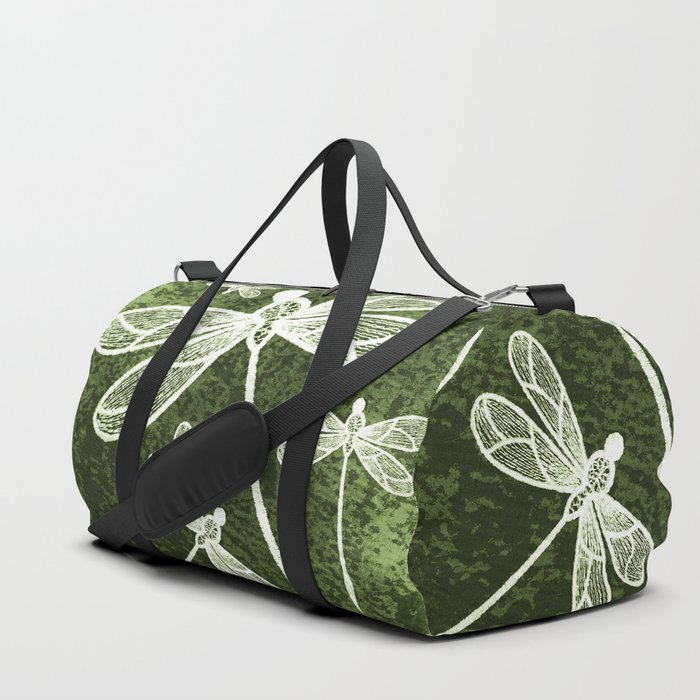 Magical white dragonflies on grunge green background Duffle Bag