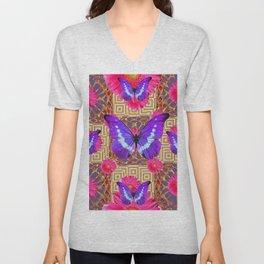 Purple Butterflies Pattern Purple-Pink Flowers Gold Art Unisex V-Neck