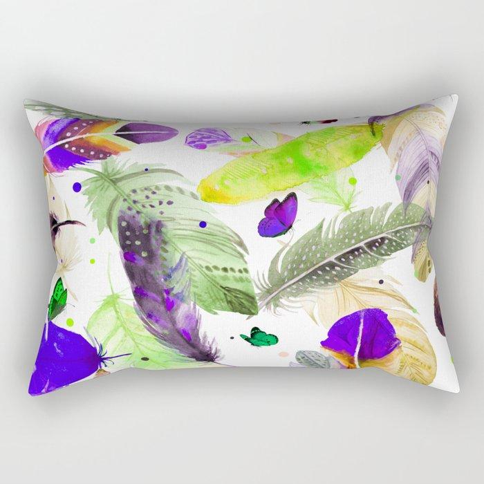 feathers and butterflies Rectangular Pillow