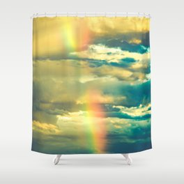 Rainbow Blue Sky Clouds Shower Curtain